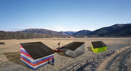 太陽光エネルギーを受けるための仮設建築