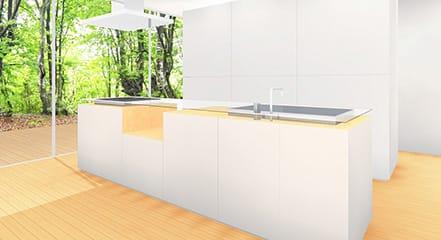 スマホ・調理本一時置き場のあるキッチンのアイディア