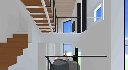 傾斜のある敷地に建つ、スキップフロアを内包する住まい
