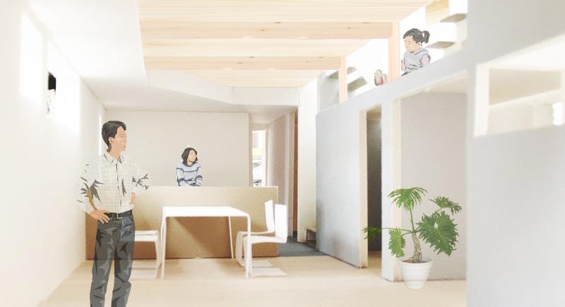 ユーティリティなスキップフロアを持つコンパクト・シンプルハウスの計画